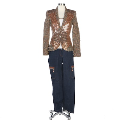 Escada Multicolor Tweed Sequin Jacket with Beaded Tank and Leather Trimmed Jeans