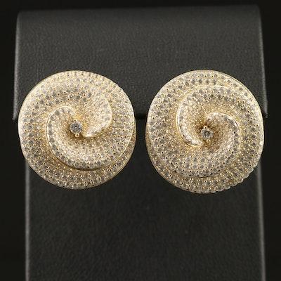 Sterling Cubic Zirconia Flower Motif Button Earrings