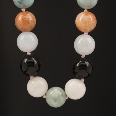 Jadeite and Black Onyx Beaded Necklace with 14K Clasp