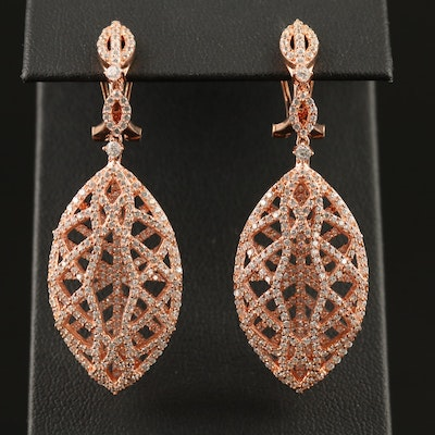 Sterling Silver Cubic Zirconia Dangle Earrings with Openwork Design