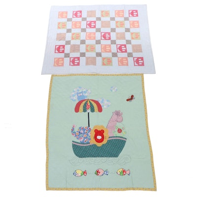 Cotton Hand Crafted Patchwork and Applique Crib Quilts