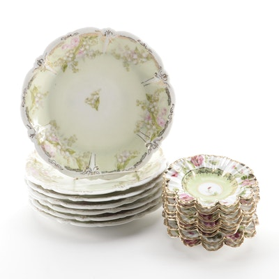 Noritake Hand-Painted Porcelain Bowls with Scalloped Luncheon Plates