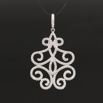 Sterling Cubic Zirconia Scrollwork Pendant