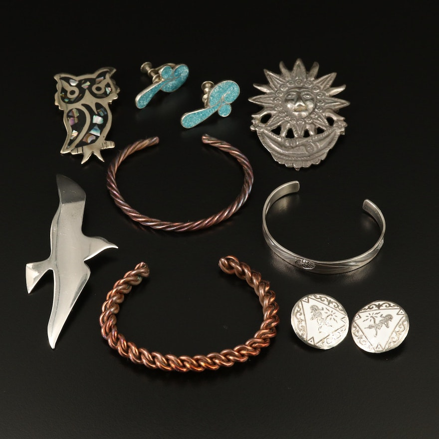 Assortment of Sterling Silver Jewelry with Abalone, Turquoise and Enamel