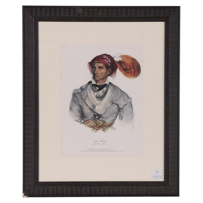 "Colored Lithograph After Charles Bird King ""Tah-Chee, A Cherokee Chief"""
