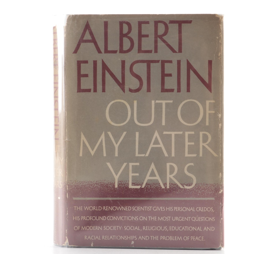 "First Edition ""Out of My Later Years"" by Albert Einstein, 1950"