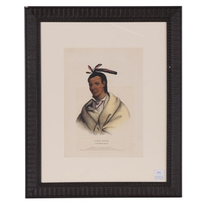 "Colored Lithograph after Charles Bird King ""A-Mis-Quam, A Winnebago Brave."""