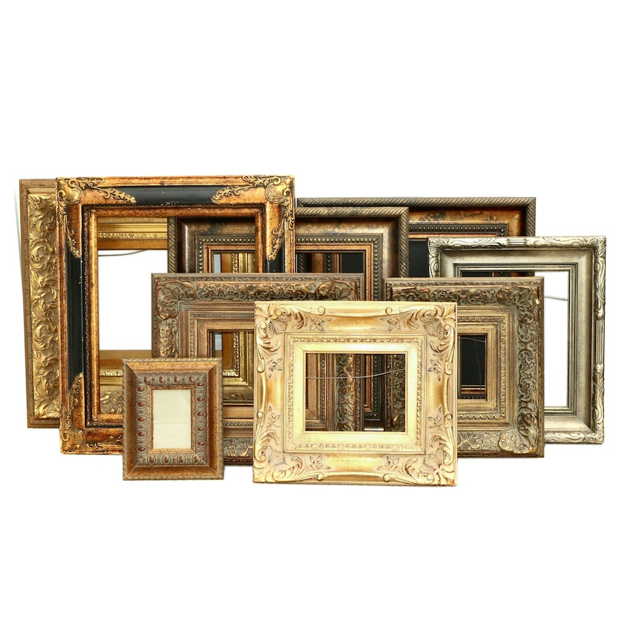 Collection of Ornate Gilt and Painted Wooden Picture Frames