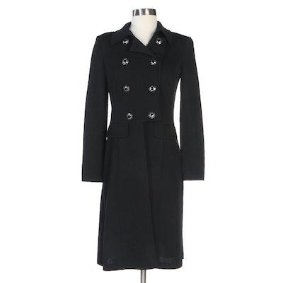 St. John Double-Breasted Black Knit Cutaway Jacket