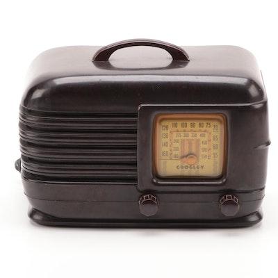Art Deco Crosley Model 11-BY Tube and Corded Electric Radio, circa 1945