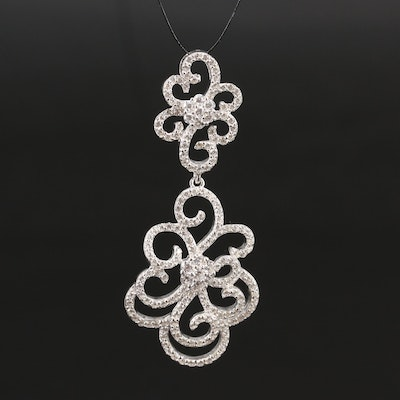 Sterling Cubic Zirconia Scrolled Drop Pendant