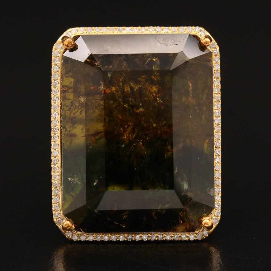 14K 78.26 CT Tourmaline and Diamond Statement Ring