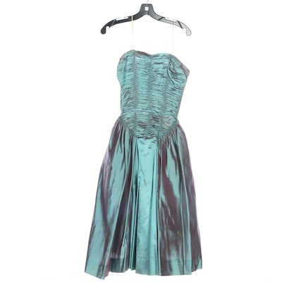 Iridescent Ruched Strapless Dress in Taffeta and Crinoline, Vintage