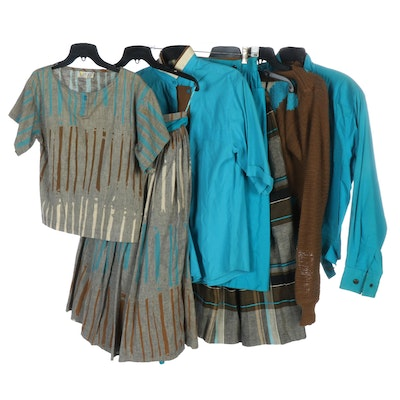 Laurel Tea Blue and Brown Skirt Sets and Separates