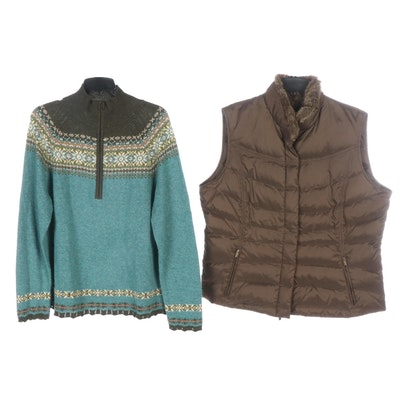 Eddie Bauer Goose Down Vest and Knit Pullover Sweater