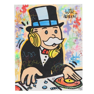 "Will $treet Acrylic and Ink Composition ""DJ Monopoly"", 2020"