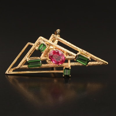 14K Abstract Geometric Motif Tourmaline Ring