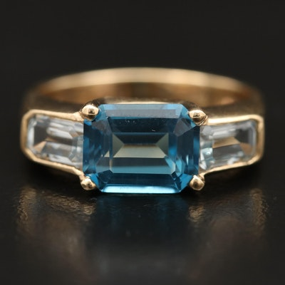 14K Topaz and Aquamarine Ring