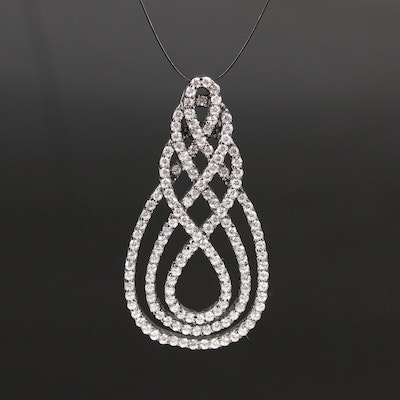 Sterling Cubic Zirconia Woven Pendant