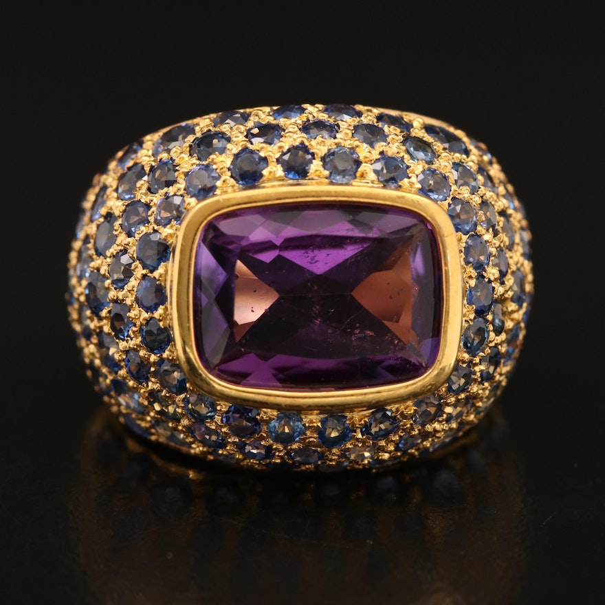 18K Amethyst and Sapphire Dome Ring