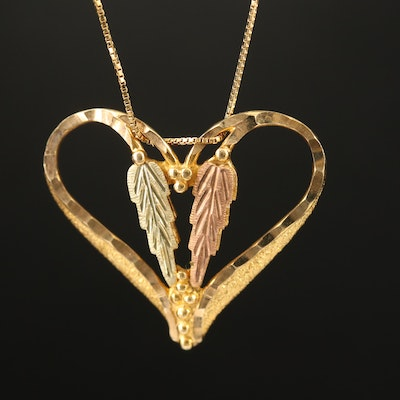 10K Heart Pendant with 12K Rose and Green Accents on 14K Box Chain Necklace