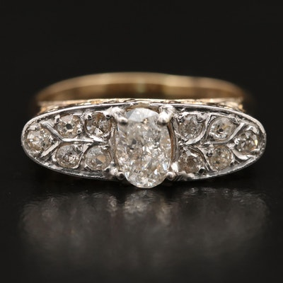 Vintage 14K Diamond Scrollwork Ring with Platinum Top