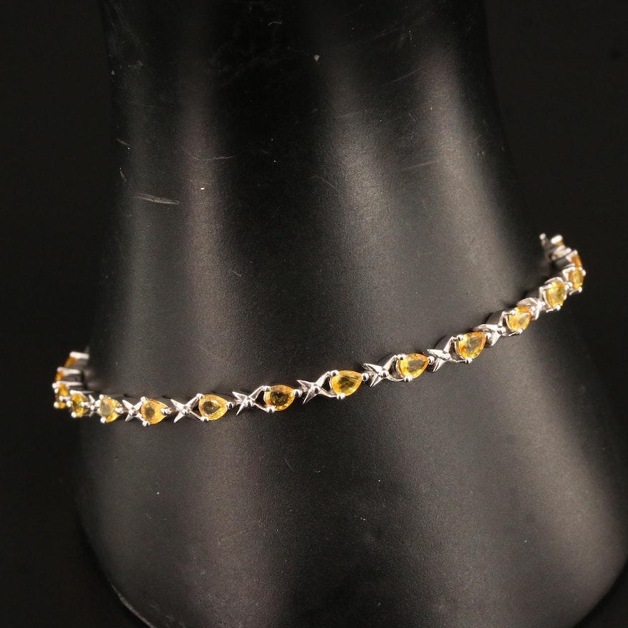 Sterling Silver Sapphire Link Bracelet