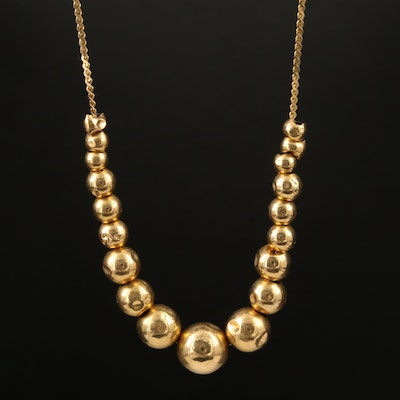 14K Graduated Sliding Bead Necklace