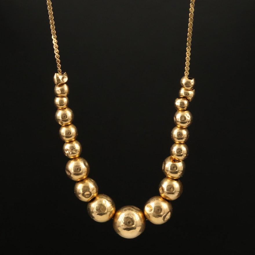 14K Graduated Sliding Bead Necklace