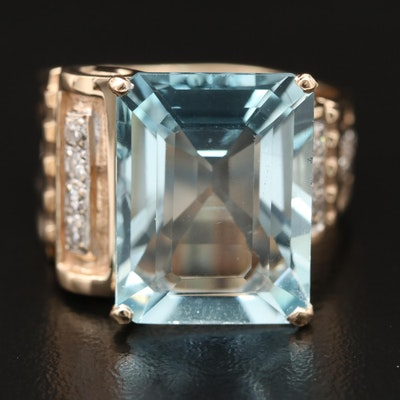 14K 15.10 CT Aquamarine and Diamond Statement Ring