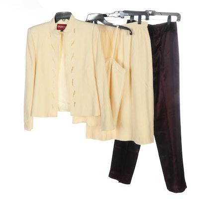 Sasson Wool Skirt Suit and Satin Pants