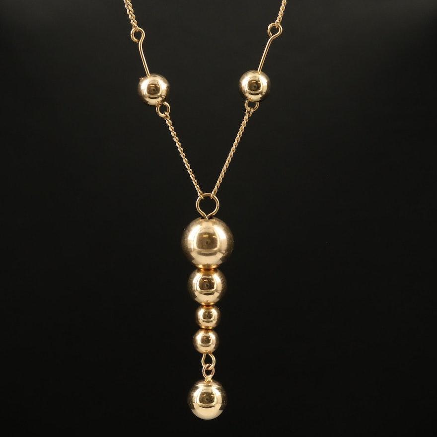 14K Lavalier Necklace