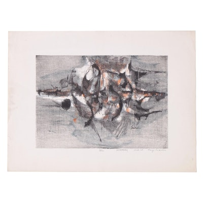 "Suzuki Kenji Lithograph ""Daybreak,"" Mid 20th Century"
