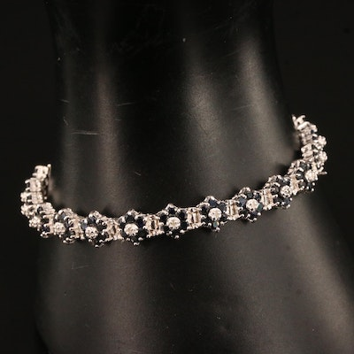 Sterling Silver Sapphire and Diamond Link Bracelet