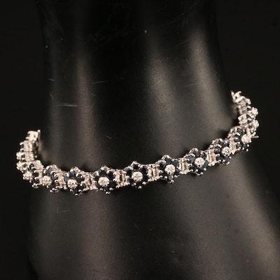 Sterling Silver Sapphire and Diamond Link Bracelet