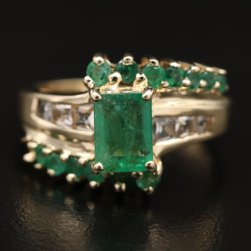 14K Emerald and Topaz Bypass Ring