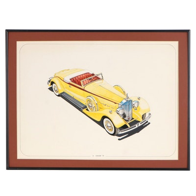 B. Dobson Gouache and Watercolor Painting of Roadster