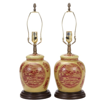 Pair of Chinoiserie Ginger Jar Table Lamps, Mid to Late 20th Century