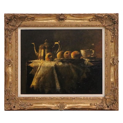 Allen McCurdy Still Life Oil Painting of Teapot and Fruit