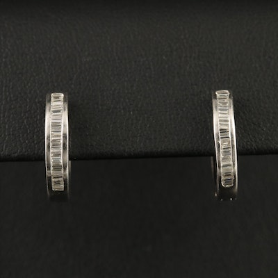 Platinum Diamond Huggie Hoop Earrings