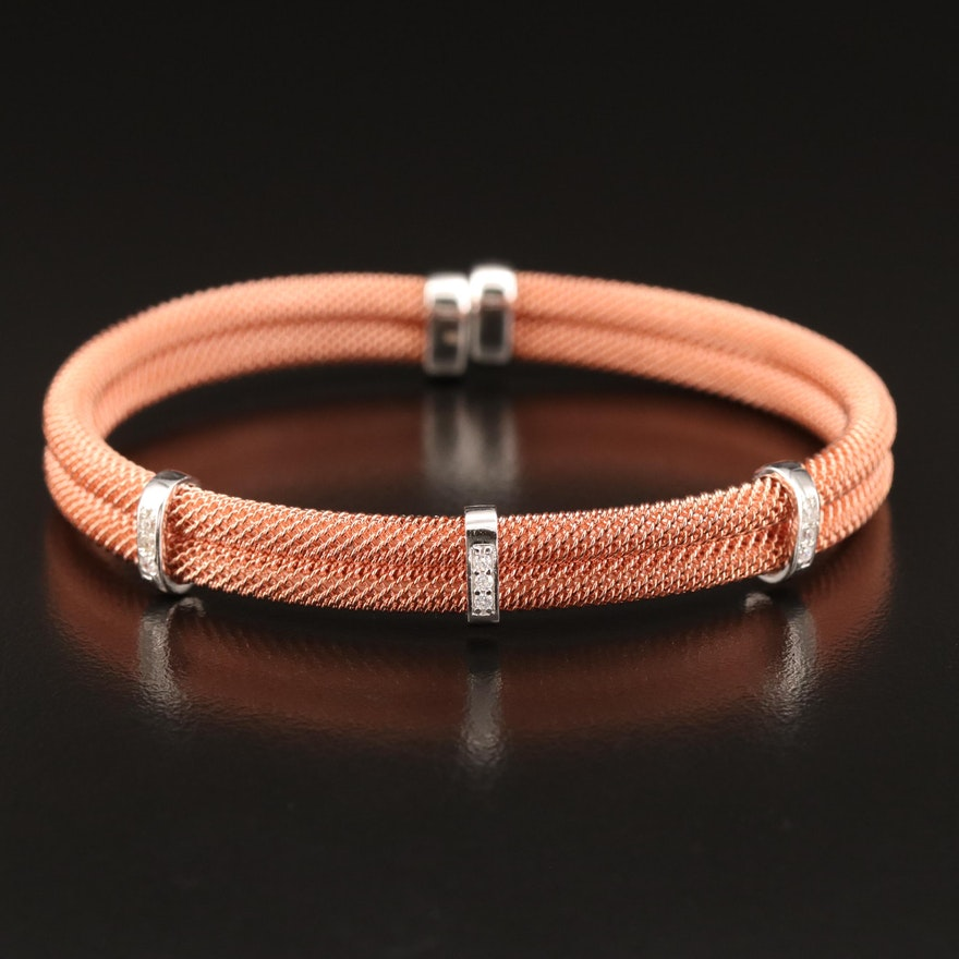 Sterling Mesh Cuff with Cubic Zirconia Accented Stations