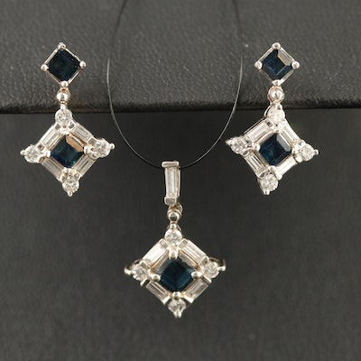 14K Sapphire and Diamond Pendant and Earring Set