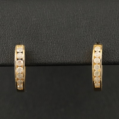 10K Channel Set Diamond Huggie Earrings