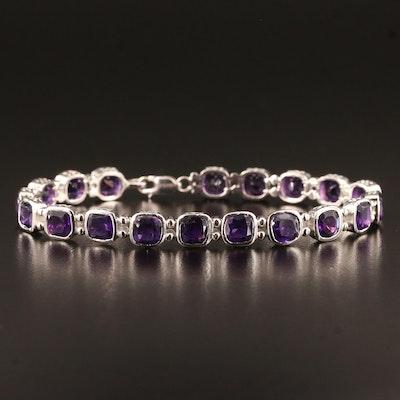 Sterling Silver Bezel Set Amethyst Line Bracelet