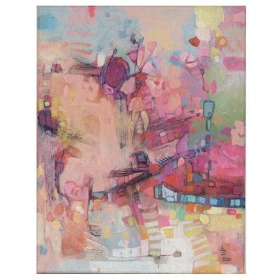 "Alexandra Zecevic Acrylic Painting ""Amphibi"", 2020"