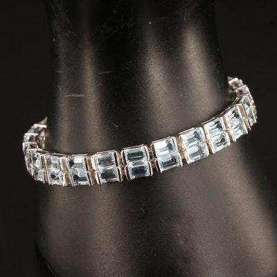 Sterling Silver Topaz Two Row Bracelet