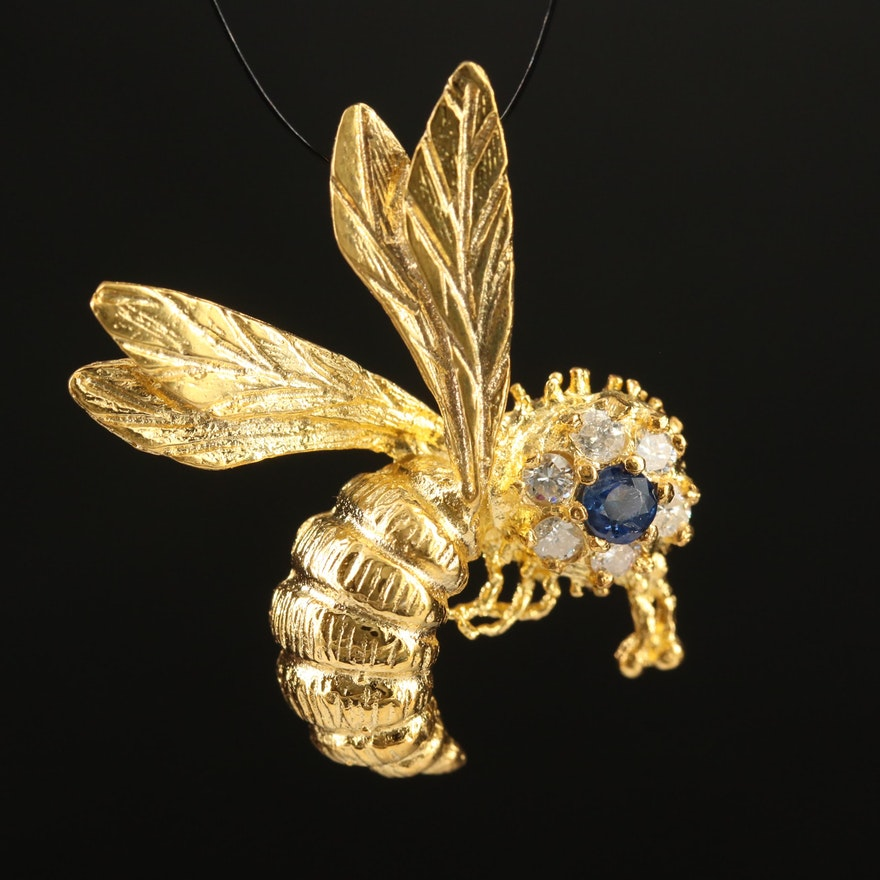 14K Sapphire and Diamond Bee Pendant