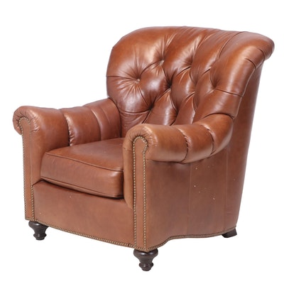 Bernhardt Furniture Buttoned-Down and Brass-Tacked Brown Leather Easy Armchair