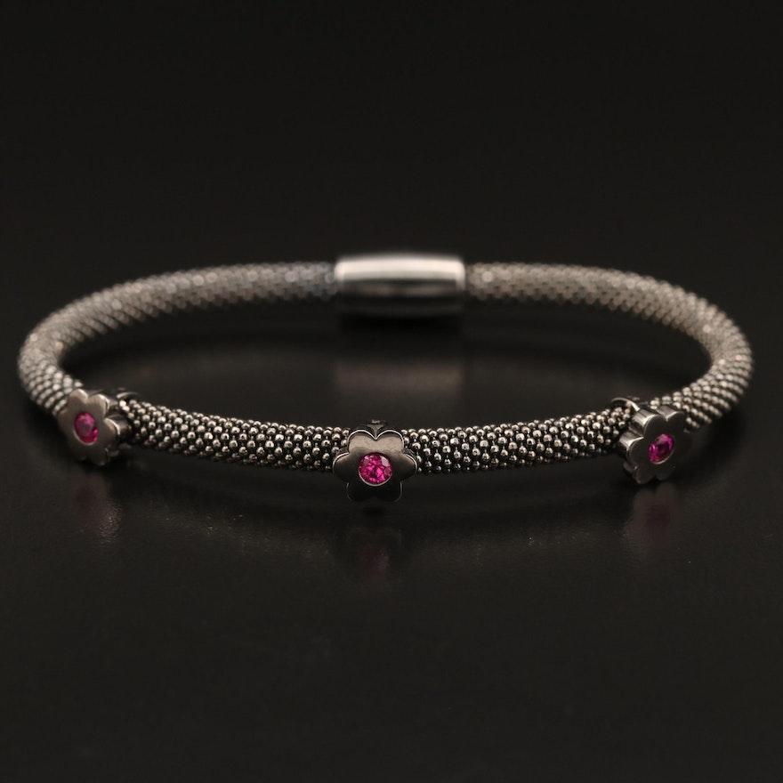 Sterling Ruby  Floral Station Bracelet