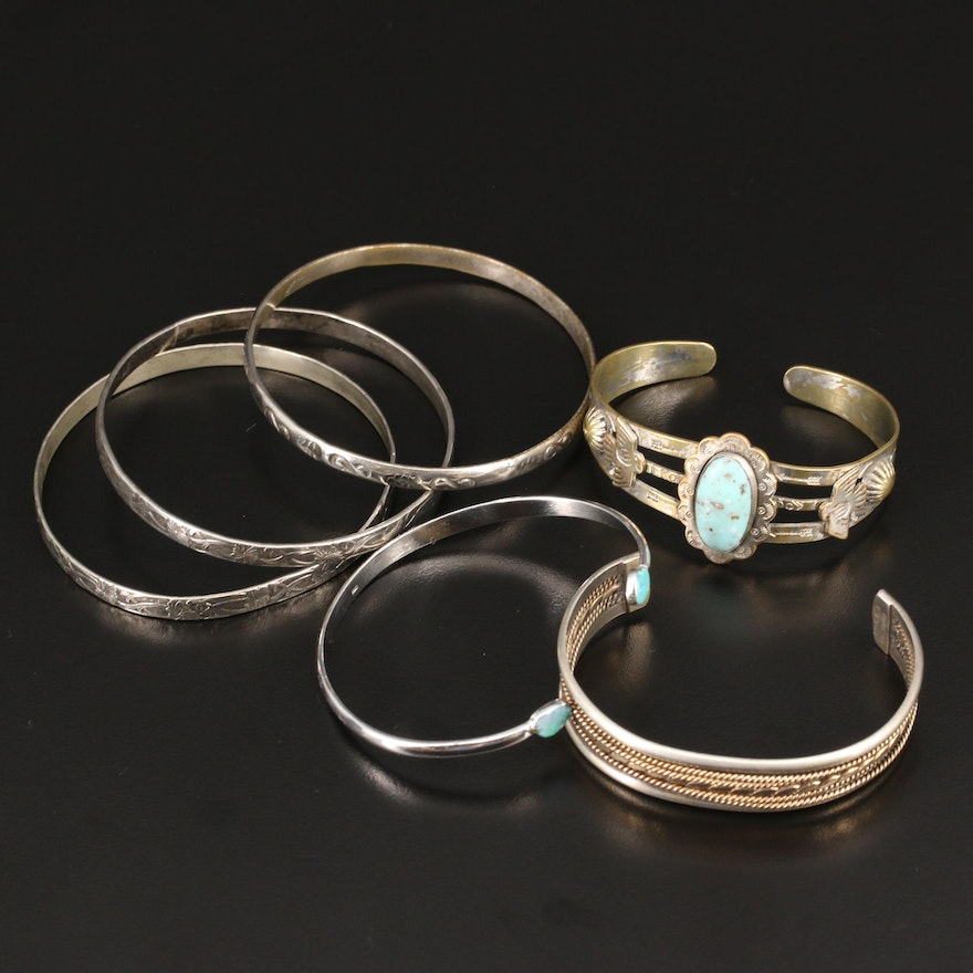 Western Sterling Faux Turquoise Cuff and Bangles